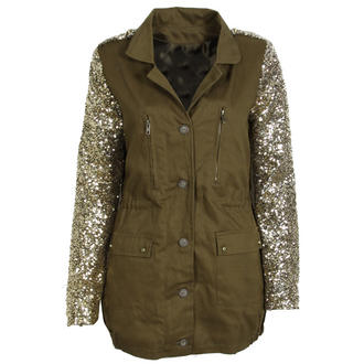 View Item Gold Sequin Sleeve Dark Khaki Military Parka Jacket